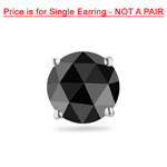 1/9 Cts of 2.50-3.00 mm AA Round Rosecut Black Diamond Mens Stud Earring in 14K White Gold