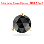1/9 Cts of 2.50-3.00 mm Round Rose Cut AAA Black Diamond Mens Stud Earring in 14K Yellow Gold