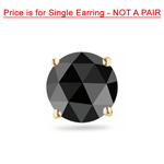 1/9 Cts of 2.50-3.00 mm Round Rose Cut AA Black Diamond Men's Stud Earring in 14K Yellow Gold