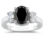 2.00 Cts Black Diamond & 1 Cts White Sapphire Ring in 18K White Gold
