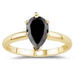 1.00 Ct of 7x4.7-8.47x5.68 mm AAA pear Black Diamond Solitaire Ring in 18K Yellow Gold