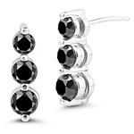 1.70 Cts Black Diamond Three Stone Earrings in 14K White Gold