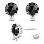 1.50 Cts Black & White Diamond Earrings in 14K White Gold