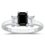 1.33 Cts Three Stone Black & White Diamond Ring in Platinum