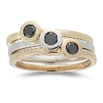 0.20 Cts Black Diamond Stack Bands in 14K Three Tone Gold