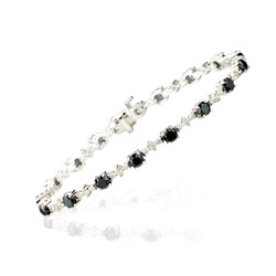 5.75 Cts Black & White Diamond Bracelet in 14K White Gold