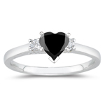 1.20 Cts Black & White Diamond Classic Three Stone Ring in Platinum
