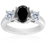 1.98 Cts Black & 0.20 Cts White Diamond Ring in 14K White Gold