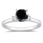 2.20 Cts Black & White Diamond Classic Three Stone Ring in Platinum