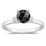 2/3 Cts Black & White Diamond Classic Three Stone Ring in 14K White Gold