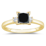 2.66 Cts Classic Three Stone Black & White Diamond Ring in 18K Yellow Gold