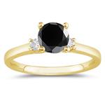 0.90 Cts Black & White Diamond Classic Three Stone Ring in 18K Yellow Gold
