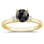 1.66 Cts Black & White Diamond Classic Three Stone Ring in 18K Yellow Gold