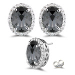 0.36 Cts Diamond & 4.20 Cts Black Diamond Stud Earrings in 18K White Gold