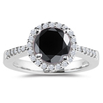2.62-3.15 Cts Black & White Diamond Ring in 14K White Gold