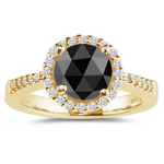 2.34-2.81 Cts Black & White Diamond Ring in 14K Yellow Gold