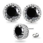 5.11-6.17 Cts Black & White Diamond Stud Earrings in 14K White Gold