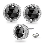4.55-5.49 Cts Black & White Diamond Stud Earrings in 14K White Gold