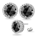 4.55-5.49 Cts Black & White Diamond Stud Earrings in 18K White Gold