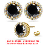 0.95-1.05 Cts Black & White Diamond Stud Earrings in 18K Yellow Gold