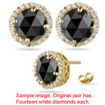0.95-1.05 Cts Black & White Diamond Stud Earrings in 14K Yellow Gold