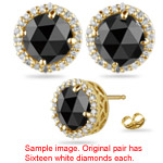 1.44-1.70 Cts Black & White Diamond Stud Earrings in 14K Yellow Gold
