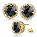 4.55-5.49 Cts Black & White Diamond Stud Earrings in 14K Yellow Gold