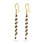 1.25 Cts Black Diamond Square Bead Briolette Earrings in 18K Yellow Gold