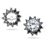 0.50 Ct Black Diamond Cluster Earring Jackets in 14K White Gold