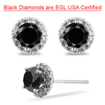 2.90 Cts Black & White Diamond Earrings in 18K White Gold