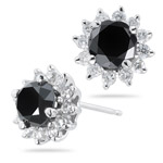 1.71-1.80 Cts Black & White Diamond Earrings in 14K White Gold