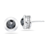 2.42 Cts Black & White Diamond Stud Earrings in 18K White Gold