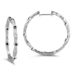 0.20 Cts Black Diamond Hoop Earrings in 14K White Gold