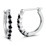 0.56 Cts Black Diamond Hoop Earrings in 18K White Gold