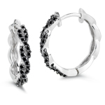 0.62 Cts Black Diamond Hoop Earrings in 14K White Gold