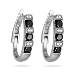 1.00 Ct Black & White Diamond Earrings in 14K White Gold