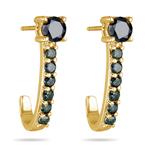 1.46-1.55 Cts Green and Black Diamond Earrings in 14K Yellow Gold