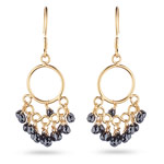 6.05 Cts Black Diamond Briolette Earrings in 18K Yellow Gold