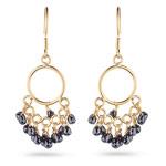 6.05 Cts Black Diamond Briolette Earrings in 18K Yellow Gold