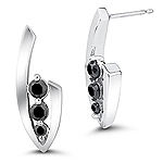 0.50 Cts Black Diamond Three Stone Earrings in 14K White Gold
