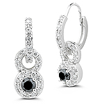 1.00 Ct Black & White Diamond Fashion Earrings in 14K White Gold