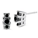 1.31 Cts Black Diamond Three Stone Earrings in 14K White Gold
