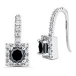 2.22 Cts Black & White Diamond Earrings in 14K White Gold