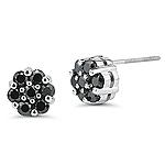 1.12 Cts Black Diamond Flower Earrings in 14K White Gold
