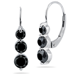 1.81 Cts Black Diamond Three Stone Earrings in 14K White Gold