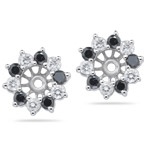 0.96 Cts Black & White Diamond Earring Jackets in 14K White Gold