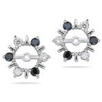 0.55 Ct White & Black Diamond Earring Jackets in 14K White Gold