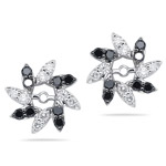 0.99 Cts Black & White Diamond Earring Jackets in 14K White Gold