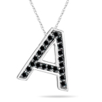 0.35 Cts Black Diamond A Initial Pendant in 14K White Gold