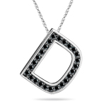1/3 Cts Black Diamond D Initial Pendant in 14K White Gold